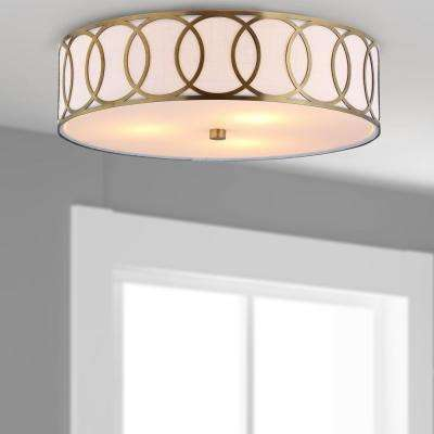 Aubrey 3-Light 15.5 in. Brass Gold Metal Flush Mount