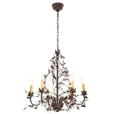 6-Light Tuscan Copper Hanging Chandelier