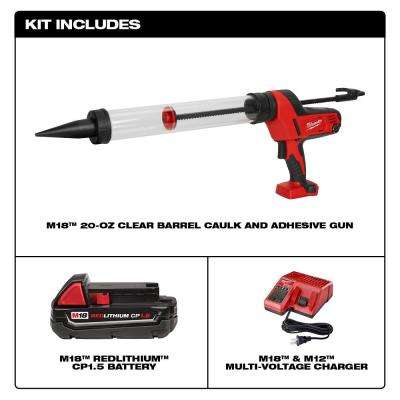 M18 18-Volt Lithium-Ion Cordless 20 oz. Caulk and Adhesive Gun Kit Sausage Style W/(1) 1.5Ah Battery, Charger