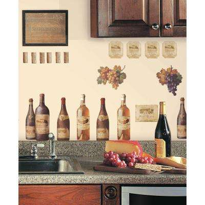 18 in. x 40 in. Wine Tasting 56-Piece Peel and Stick Wall Decals