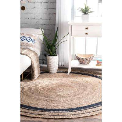 Braided Rikki Border Jute Natural 8 ft. x 8 ft. Round Area Rug
