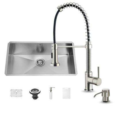 All-in-One Undermount Stainless Steel 30 in. Single Basin Kitchen Sink in Stainless Steel