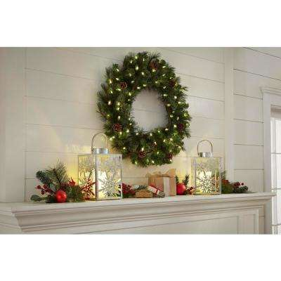 30 in. Battery-Operated Pre-Lit LED Artificial Alexander Pine Christmas Wreath with 140 Tips and 50 Warm White Lights