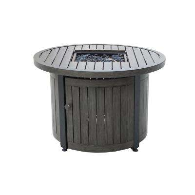 36 in. W Weathered Grey Finish Round Aluminum LP Gas Fire Pit with Integrated Ignition, Black Fire Glass and Cover