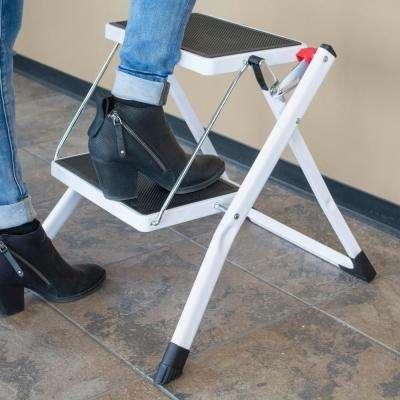 2-Step Steel Folding Mini Step Ladder with 225 lbs. Load Capacity