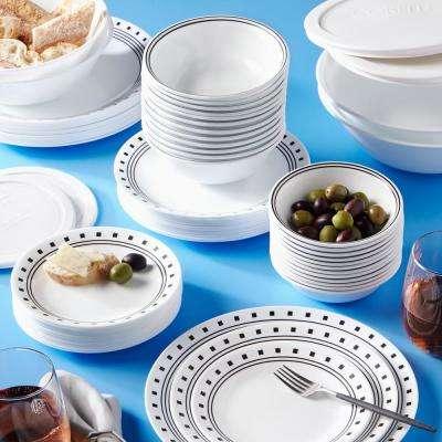 Classic 78-Piece City Block Glass Dinnerware Set