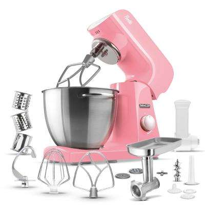 Robust Full-Metal Body with Metal Gears Stand Mixer in Pastel Red