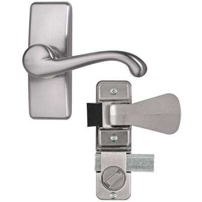 Satin Nickel Coated Zinc Storm and Screen Door Lever Handle Set with Deadbolt