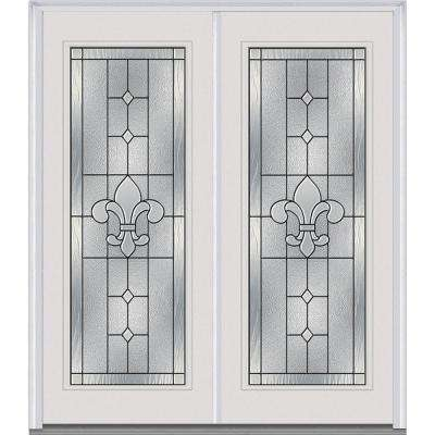 72 in. x 80 in. Carrollton Decorative Glass Full Lite Majestic Painted Steel Double Prehung Front Door