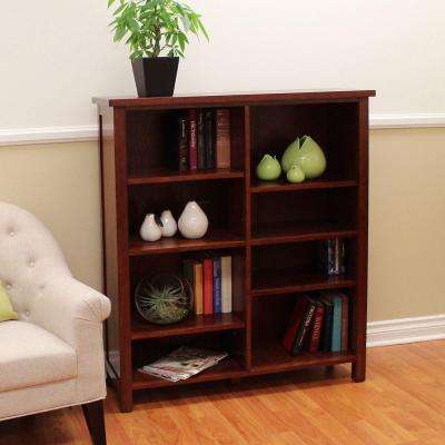 Oakdale Double 8-Shelf Bookcase in Cherry