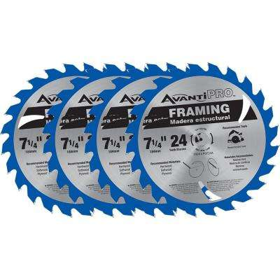 7-1/4 in. x 24-Tooth Framing Saw Blade (4-Pack)