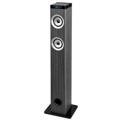 Bluetooth Tower Speaker with Wood Grain in Grey