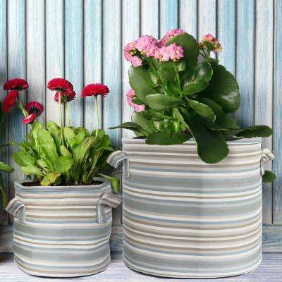 Large and Small Set of Grey Multi-Color Fabric Planter with Liner (2-Pack)