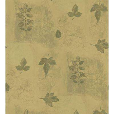 Kitchen and Bath Resource II Gold Multi-Leaf Wallpaper Sample