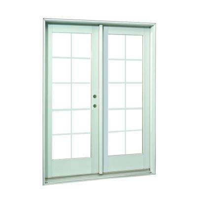 60 in. x 80 in.White 10-Lite Prehung Left-Hand Inswing Grille Patio Door