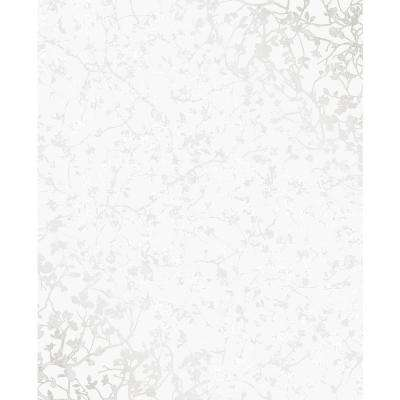 56 sq. ft. Palatine Silver Leaves Wallpaper