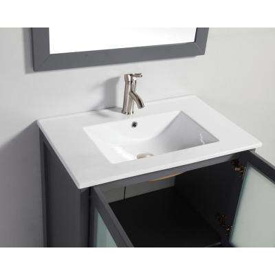 Arezzo 30 in. W x 18 in. D x 36 in. H Vanity in Grey with Porcelain Vanity Top in White with White Basin