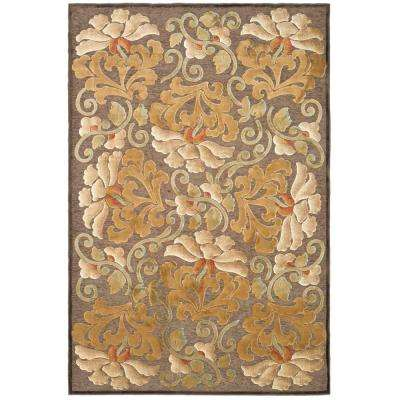 Floating Dahlia Light Brown 4 ft. x 5 ft. 7 in. Area Rug
