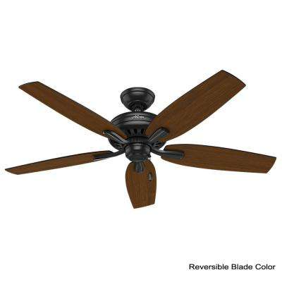 Newsome 52 in. Indoor/Outdoor Matte Black Ceiling Fan bundled with Remote Control