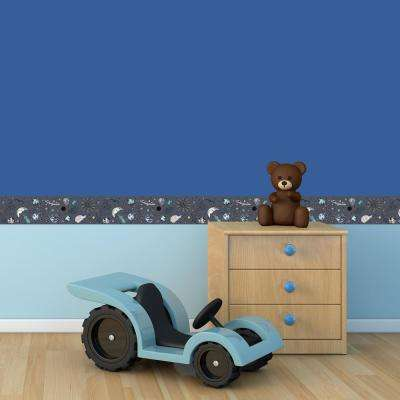 Kids Galaxy Out Of This World Slate Self-Adhesive Removable Borders and Stripes