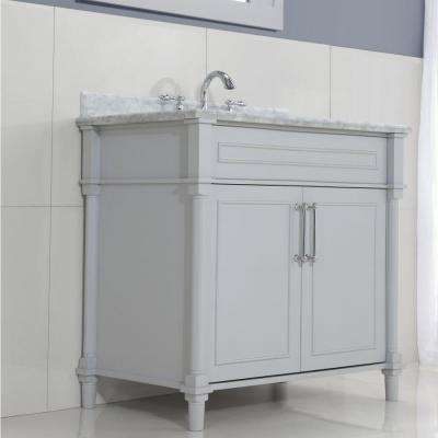 Aberdeen 36 in. W x 22 in. D Single Bath Vanity in Dove Grey with Carrara Marble Top with White Sink