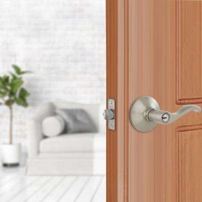 Naples Satin Nickel Keyed Entry Door Lever