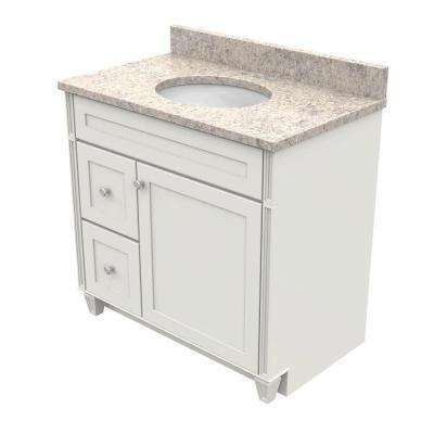 36 in. Vanity in Dove White with Natural Quartz Vanity Top in Shadow Swirl and White Basin