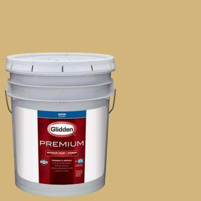 5 gal. #HDGY37D Spinning Straw Gold Satin Interior Paint with Primer