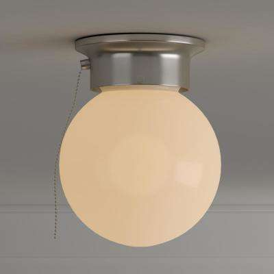 1-Light Brushed Nickel Interior Ceiling Flush Mount with Pull Chain and White Glass Globe