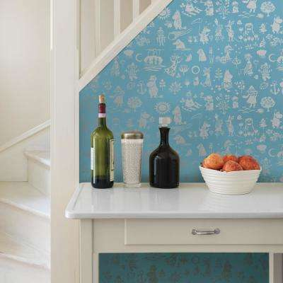 Moomin Blue Novelty Wallpaper Sample