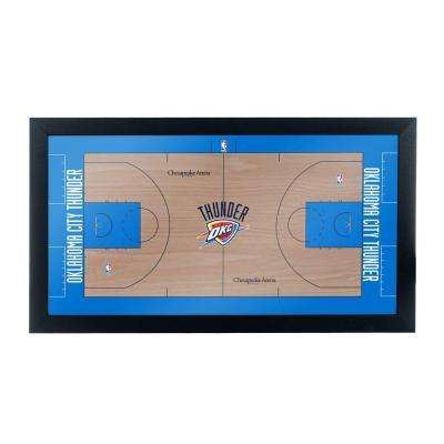 Oklahoma City Thunder Official NBA Court 15 in. x 26 in. Black Framed Plaque