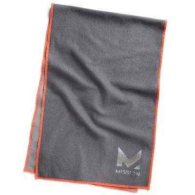 Hydro Active Max 11 in. x 33 in. Charcoal Gray and High Vis Coral Cooling Towel