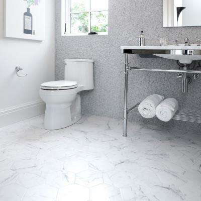 Classico Carrara Hexagon 7 in. x 8 in. Porcelain Floor and Wall Tile (7.67 sq. ft. / case)