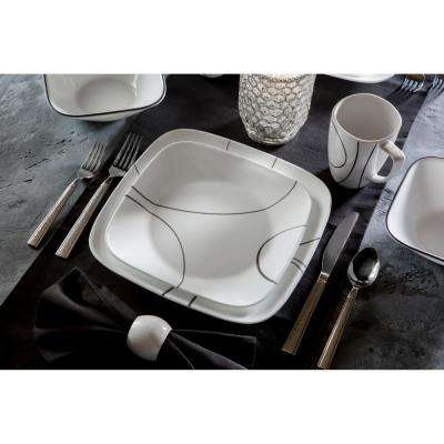 Square 8.5-In Lunch Plates Simple Lines (Set of 6)