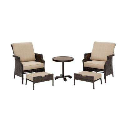 Grayson Brown 5-Piece Wicker Patio Small Spaces Chat Set with Toffee Cushions