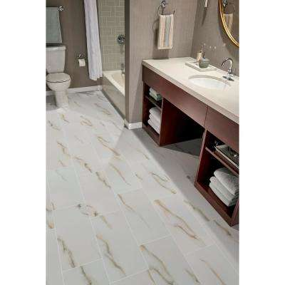Aria Bianco 12 in. x 24 in. Polished Porcelain Floor and Wall Tile (16 sq. ft. / case)