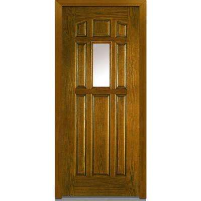 36 in. x 80 in. Classic Clear Glass 1/4 Lite 8-Panel Finished Oak Fiberglass Prehung Front Door