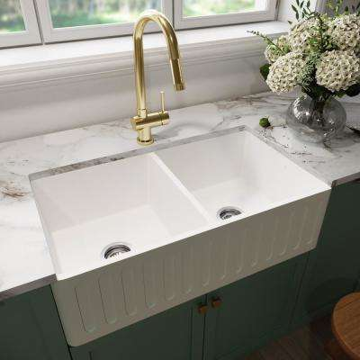 Matte Stone Farmhouse Composite 33 in. 50/50 Double Bowl Kitchen Sink with 2 Strainer in Matte White