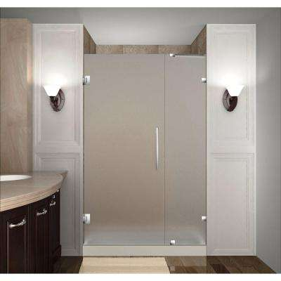 Nautis 37 in. x 72 in. Completely Frameless Hinged Shower Door with Frosted Glass in Stainless Steel