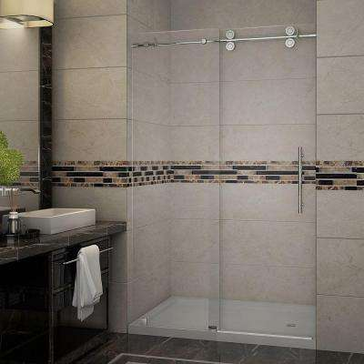 Langham 48 in. x 77.5 in. Completely Frameless Sliding Shower Door with Base and Right Drain in Stainless Steel