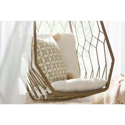 Tan Trellis Geometric Outdoor Throw Pillow