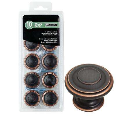 1-3/8 in. Venetian Bronze with Copper Highlights Harmon Cabinet Knob (10-Pack)