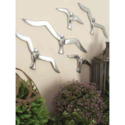 AMERICAN HOME 4 inch x 16 inch Silver Finish Flock of Birds Wall Decor in Polished Aluminum (7-Set)
