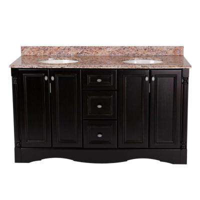 Valencia 60 in. Vanity in Antique Black with Stone Effects Vanity Top in Santa Cecilia