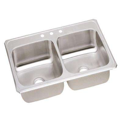 Gourmet Celebrity Drop-In Stainless Steel 43 in. 3-Hole Double Bowl Kitchen Sink