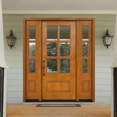 68 in. x 80 in. Craftsman Savannah 6 Lite RHIS Autumn Wheat Mahogany Wood Prehung Front Door with Double 14 in. Sidelite