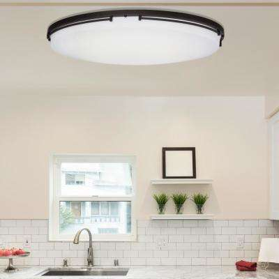 32 in. Rail Oil-Rubbed Bronze Integrated LED Flush Mount