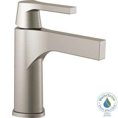 Zura Single Hole Single-Handle Bathroom Faucet Less Pop-Up in Stainless