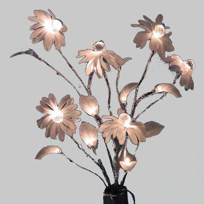 24 in. 3-Watt Lighted Rose Branch with 12 Warm White LED Lights