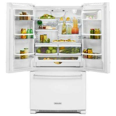 25 cu. ft. French Door Refrigerator in White with Interior Water Dispenser